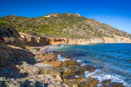 Spiaggia Sa Canna on the south coast of Sardinia, Italy. Stock Photo