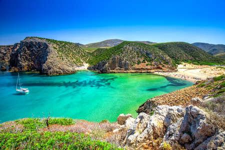 Cala Domestica beach,Costa Verde,  Sardinia, Italy. Sardinia is the second largest island in mediterranean sea.