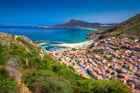 Buggerru town near Portixeddu beach and San Nicolo, Costa Verde, Sardinia, Italy. Sardinia is the second largest island in mediterranean sea. Stock Photo