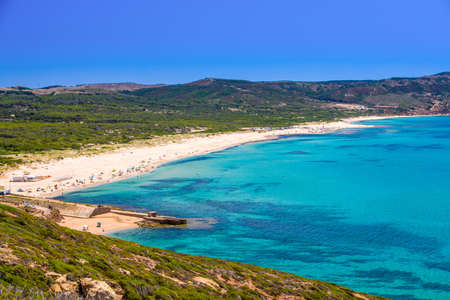 Spiaggia di Fontanamare Beach, South-west coast , Sardinia, Italy.