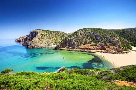 Cala Domestica beach, Costa Verde, Sardinia, Italy. Sardinia is the second largest island in mediterranean sea. Stock Photo
