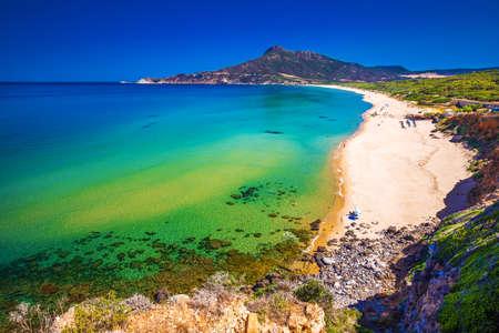 Spiaggia di San Nicolo and Spiaggia di Portixeddu beach in San Nicolo town, Costa Verde, Sardinia, Italy. Sardinia is an island in the Mediterranean Sea. Stock Photo