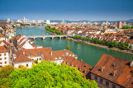 Old city center of Basel with the Rhine river, Switzerland, Europe. Basel is a city in northwestern Switzerland on the river Rhine and third-most-populous city.