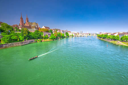 Old city center of Basel with Munster cathedral and the Rhine river, Switzerland, Europe. Basel is a city in northwestern Switzerland on the river Rhine and third-most-populous city. Stock fotó