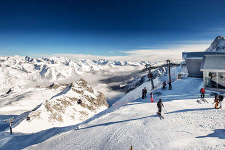 TONALE, ITALY - Jan 20, 2018 - Stunning winter panorama in Tonale ski resort. View of Italian Alps from Adamelo Glacier, Italia, Europe.