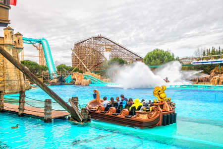 RUST, GERMANY - March 31, 2018 - Guests riding boats in Europa-Park. Europa-Park is a second largest park resort in Europe. Stock fotó - 104985874