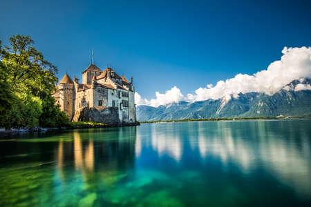 Famous Chateau de Chillon at Lake Geneva near Montreux, Switzerland, Europe