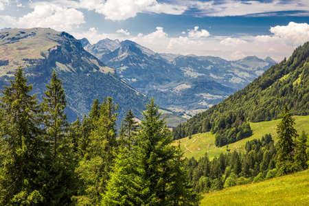 Beautiful summer landscape of Switzerland with Grosser Mythen mountain and green meadows, Ibergeregg, Switzerland, Europe.