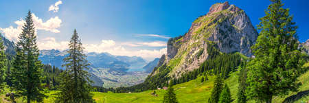 Beautiful summer landscape of Switzerland with Grosser Mythen mountain and green meadows, Ibergeregg, Switzerland, Europe.