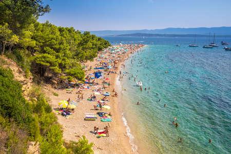 Zlatni rat, CROATIA - August 9, 2018 - Famous Zlatni rat beach in Bol, Island Brac, Croatia