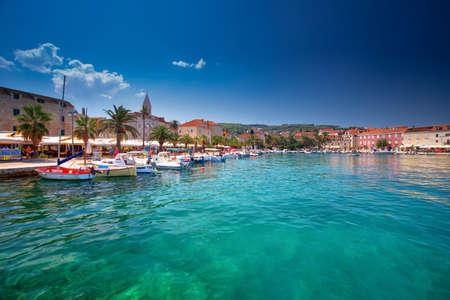 SUPETAR, CROATIA - August 6, 2018 - Harbour in Supetar, Brac, Croatia. Editorial