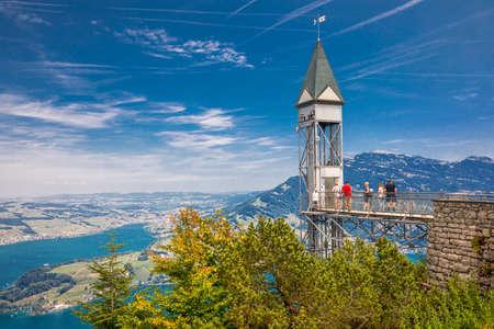 BURGENSTOCK, SWITZERLAND - August 1, 2018 - Hammetschwand elevator in Alps near Burgenstock with the view of Swiss Alps and Lucerne lake, Switzerland, Europe.
