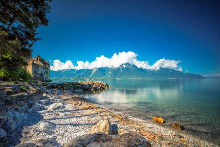 VEYTAUX, SWITZERLAND - June 1 - Famous Chateau de Chillon at Lake Geneva near montreux, Switzerland, Europe. Editorial