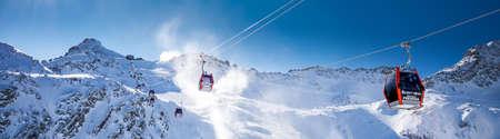 TONALE, ITALY - Jan 20, 2018 - Stunning winter panorama in Tonale ski resort. View of Italian Alps from Adamelo Glacier, Italia, Europe.