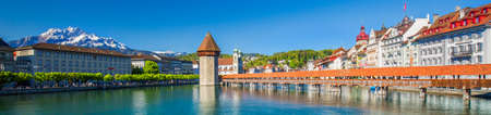 Historic city center of Lucerne with famous Chapel Bridge and lake Lucerne (Vierwaldstattersee), Canton of Lucerne, Switzerland Editorial