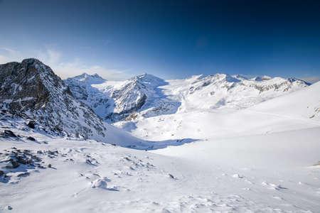 View of Alps from Presena Glacier, Tonale, Italy.