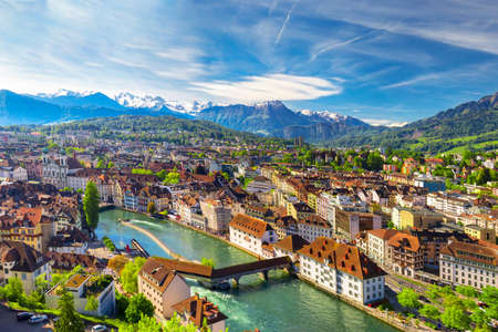Historic city center of Lucerne with famous Chapel Bridge and lake Lucerne (Vierwaldstattersee), Canton of Luzern, Switzerland Editorial