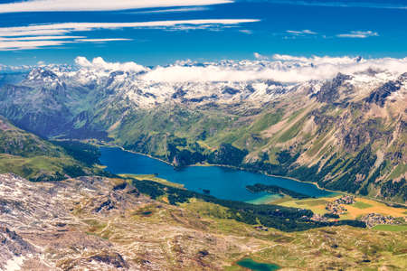 Stunning view of Silsersee, Silvaplanersee, Engadin and Maloja from Corvatsch mountain, Switzerland, Europe.