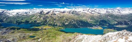 Stunning view of Silsersee, Silvaplanersee, Engadin and Maloja from Corvatsch mountain, Switzerland, Europe Stock Photo