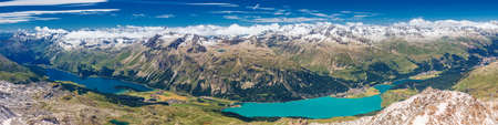 Stunning view of Silsersee, Silvaplanersee, Engadin and Maloja from Corvatsch mountain, Switzerland, Europe.