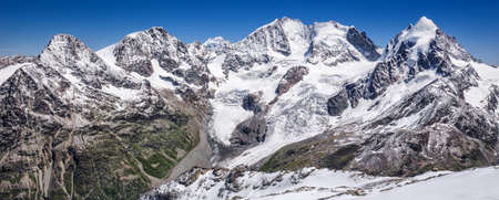 Tschierva Glacier and Bernina mountain from Corvatsch, canton of Graubunden, Grisons, Switzerland, Europe Stock Photo
