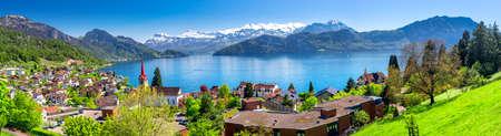 Village Weggis, lake Lucerne (Vierwaldstattersee), Pilatus mountain and Swiss Alps in the background near famous Lucerne city, Switzerland