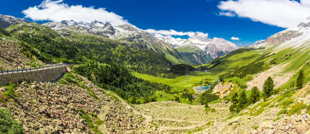 Mountain road to Albula pass - Swiss mountain pass near Sankt Moritz in the canton of Graubunden. Switzerland.