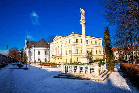 SPISSKA NOVA VES - Jan, 2019 - Historic city center of Spisska Nova Ves covered by snow on Christmas time.