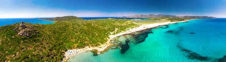 Porto Giunco beach, Villasimius, Sardinia, Italy. Sardinia is the second largest island in the Mediterranean Sea. Imagens - 128516932