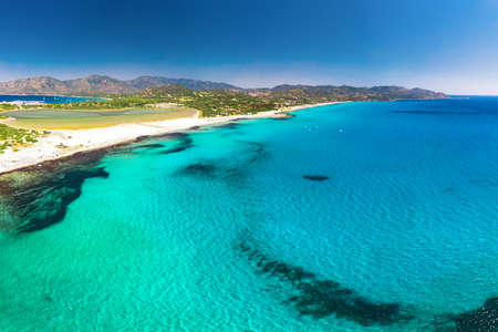 Porto Giunco beach, Villasimius, Sardinia, Italy. Sardinia is the second largest island in the Mediterranean Sea.