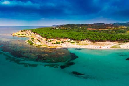 Graniro beach with Santa Lucia old town in the Italian region Sardinia on Tyrrhenian Sea, Sardinia, Italy, Europe.