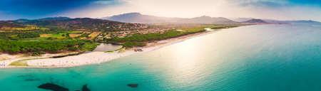 Graniro beach with Santa Lucia old town in the Italian region Sardinia on Tyrrhenian Sea, Sardinia, Italy, Europe. Stock Photo