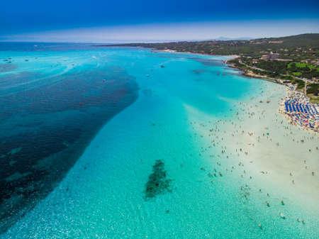 Famous La Pelosa beach with Torre della Pelosa on Sardinia island, Sardinia, Italy, Europe.