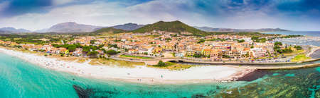 Graniro beach with azure clear water and La Caletta town, Sardinia, Italy, Europe. Stock fotó