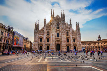 Cathedral Duomo di Milano and Vittorio Emanuele gallery in Square Piazza Duomo at sunrise, Milan, Italy, Europe.