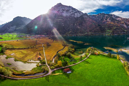 Areal view of Fluelen town and lake Lucerne in canton Uri, Switzerland, Europe. 版權商用圖片