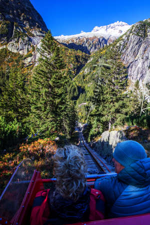 HANDEGG, SWITZERLAND - Gelmerbahn near by the Grimselpass in Swiss Alps, Gelmersee, Switzerland, Bernese Oberland, Switzerland. 版權商用圖片