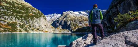 Gelmer Lake near by the Grimselpass in Swiss Alps, Gelmersee, Switzerland, Bernese Oberland, Switzerland. Stock Photo