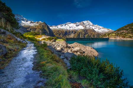Gelmer Lake near by the Grimselpass in Swiss Alps, Gelmersee, Switzerland