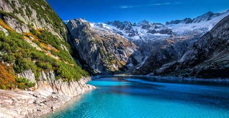 Gelmer Lake near by the Grimselpass in Swiss Alps, Gelmersee, Switzerland. Standard-Bild