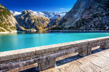 Gelmer Lake near by the Grimselpass in Swiss Alps, Gelmersee, Switzerland. 版權商用圖片