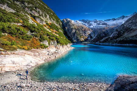 Gelmer Lake near by the Grimselpass in Swiss Alps, Gelmersee, Switzerland. Standard-Bild