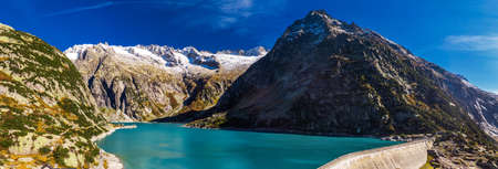 Aerial view of Gelmer Lake near by the Grimselpass in Swiss Alps, Gelmersee, Switzerland