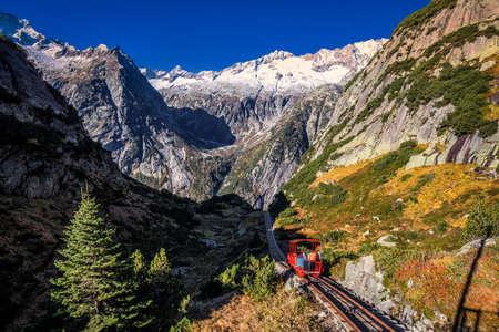 Gelmer funiculaa near by the Grimselpass in Swiss Alps, Gelmersee, Switzerland, Switzerland.