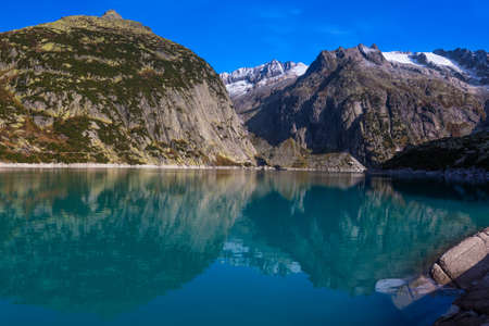 Gelmer Lake near by the Grimselpass in Swiss Alps, Gelmersee, Switzerland, Bernese Oberland, Switzerland. Standard-Bild