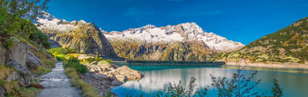 Gelmer Lake near by the Grimselpass in Swiss Alps, Gelmersee, Switzerland