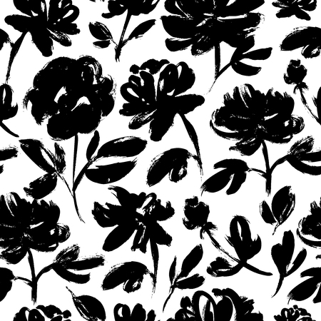 Spring flowers hand drawn seamless pattern. Black and white ink brush texture. Grunge dry brushstroke drawing. Roses, peonies, chrysanthemums blooming. Floral wrapping paper, textile vector fill.