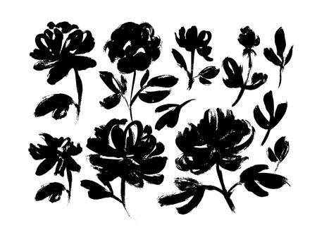 Conjunto de vectores dibujados a mano de flores de primavera. Texturas de pincel de tinta negra. Pinceladas de pintura seca grunge sobre fondo blanco. Rosas, peonías, crisantemos aislados cliparts. Colección de dibujos florales. Ilustración de vector