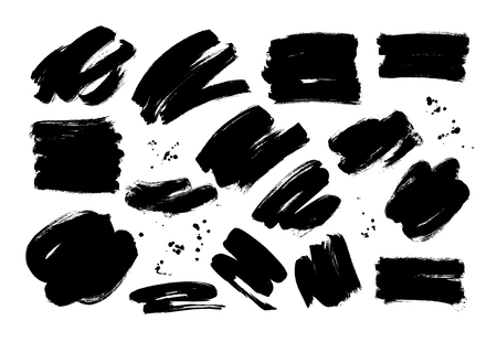 Black dry brushstrokes hand drawn set. Grunge smears collection. Abstract ink brush doodle textures. Paint strokes with dots freehand drawings. Wrapping paper, textile, backdrop vector illustration.
