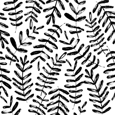 Plant leaves hand drawn seamless pattern. Ink brush texture with tree branches. Handdrawn acacia, laurel twig. Black and white grunge brushstroke drawing. Botanical textile, wrapping paper vector fill